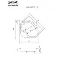 Панель акриловая для поддона BESCO PMD PIRAMIDA DIPER-1 80Х80Х/38