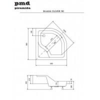Панель акриловая для поддона BESCO PMD PIRAMIDA OLIVER 1 90Х90Х15