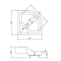 Панель акриловая для поддона BESCO PMD PIRAMIDA OLIVER 2 90Х90Х28