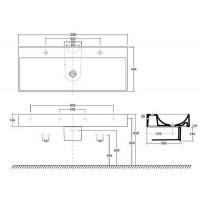 Раковина Kolo QUATTRO 120 см с отверстием и покрытием Reflex