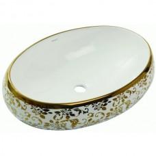 Раковина накладная Newarc Countertop 60х40 см бело-золотая 5015G-W