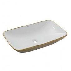 Раковина накладная Newarc Countertop 70х40 см бело-золотая  5019GW
