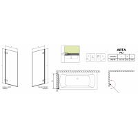 Шторка для ванны RADAWAY Arta PNJ 70,  210101-01L/R