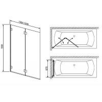 Шторка для ванны RADAWAY Carena PND 130,  202201-101L/R