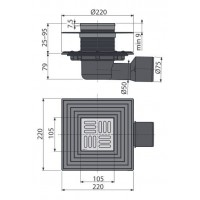 Сливной трап Alcaplast APV3344 105х105/50/75
