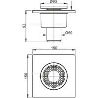 Сливной трап Alcaplast APV4 150x150/50мм
