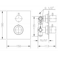 Смеситель для душа GENEBRE TAU 2way термостат скрытый монтаж на 2 зоны (64114144567)