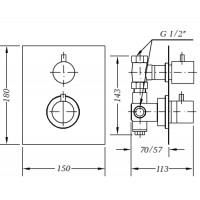 Смеситель для душа GENEBRE TAU 3way термостат скрытый монтаж на 3 зоны (64111144567)