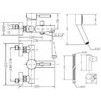 Смеситель  для ванны GENEBRE Tau с душевым гарнитуром (65100 18 45 66)