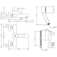 Смеситель  для ванны GENEBRE Tau2 с душевым гарнитуром (65100 29 45 66)