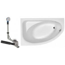 SPRING ванна 160x100 ассиметричная левая в комплекте с сифоном Geberit 150.520.21.1, с ножками