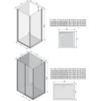 Стенка для душевой кабинки Ravak CHROME CPS - 100 Transparent, белый профиль, стекло