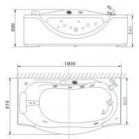 Ванна APPOLLO А-932 прямоугольная с гидро-аэромассажем и окошком 1800*990*680 мм