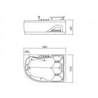 Ванна APPOLLO АТ-0929-A  угловая левая с гидро-аэромассажем 1800*1240*660 мм