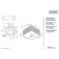 Ванна APPOLLO ТS-2121 угловая без гидромассажа с окошком (рама + ножки + лицевая панель) 1520*1520*710мм