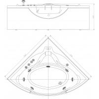Ванна APPOLLO угловая с гидромассажем и пневмокнопкой 1520*1520*710 мм, АТ-2121
