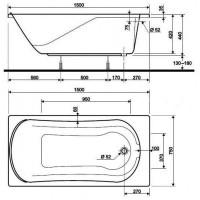 COMFORT ванна 190x90 прямоугольная в комплекте с сифоном Geberit 150.520.21.1, с ножками