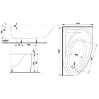 SPRING ванна 160x100 асимметричная правая в комплекте с сифоном Geberit 150.520.21.1, с ножками