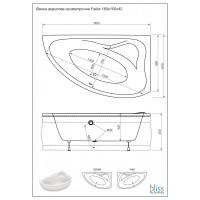 Ванна  на каркасе  асимметричная Bliss Fabia  Левая 160*100 с ногами и панелью