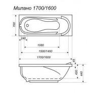 Ванна  прямоугольная Bisante МИЛАНО 170*70, MLN170