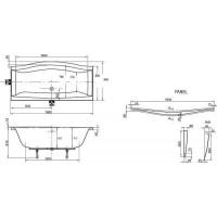 Ванна  прямоугольная Bisante МОНАКО 180*90, MNK180