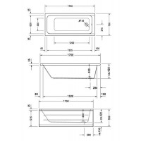 Ванна прямоугольная Duravit D-Code 170x75, без ножек, 700100000000000