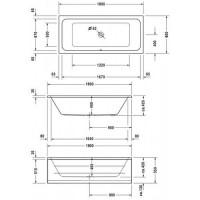 Ванна прямоугольная Duravit D-Code 180x80, без ножек, 700101000000000