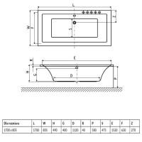 Ванна RADAWAY Aridea Lux 170×80 с ножками, WA1-25-170x080U