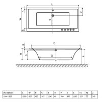 Ванна RADAWAY Aridea Lux 180×80 с ножками, OBEX.180.58WH