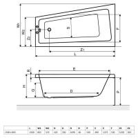 Ванна RADAWAY Evia 150х80 с ножками, WA1-44-150х080 L/P