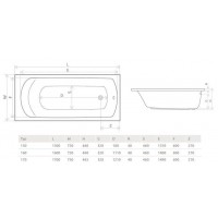 Ванна RADAWAY Kea 150x75 с ножками, WA1-04-150x075U