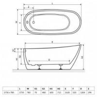 Ванна RADAWAY Nikia 175×78×60/71, white, WA1-41-175x078U-B