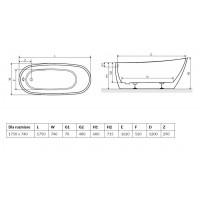Ванна RADAWAY Sapientza 175×78×60/71, black, WA1-42-175x078U-BC