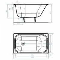 """Ванна УНИВЕРСАЛ """"Каприз"""" 120x70 прямоугольная, с ножками, ВЧ-1200"""