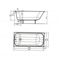 """Ванна УНИВЕРСАЛ  """"Ностальжи"""" с ручками 150x70 прямоугольная, с ножками, ВЧ-1502"""