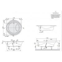 Ванна VILLEROY&BOCH AQUALOOP  175*175 см (ножки+рама) BA175AQU9V-01