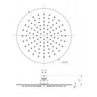 Верхний душ IMPRESE S250SS6 диаметр 250 мм