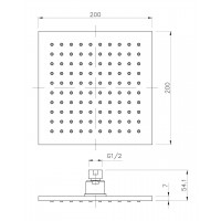 Верхний душ IMPRESE SQ200B диаметр 200 мм