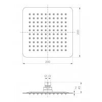 Верхний душ IMPRESE SQ200SS2 диаметр 200 мм