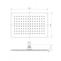 Верхний душ IMPRESE SQ300200SS6 300 х 200 мм