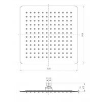 Верхний душ IMPRESE SQ300SS2 диаметр 300 мм