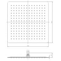 Верхний душ IMPRESE SQ400SS2 диаметр 400 мм